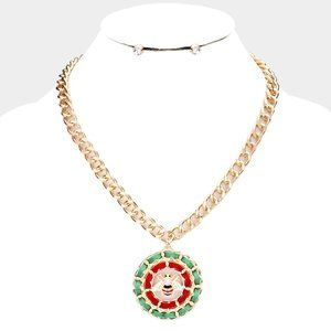 Honey Bee Green & Red Suede Round Necklace Set